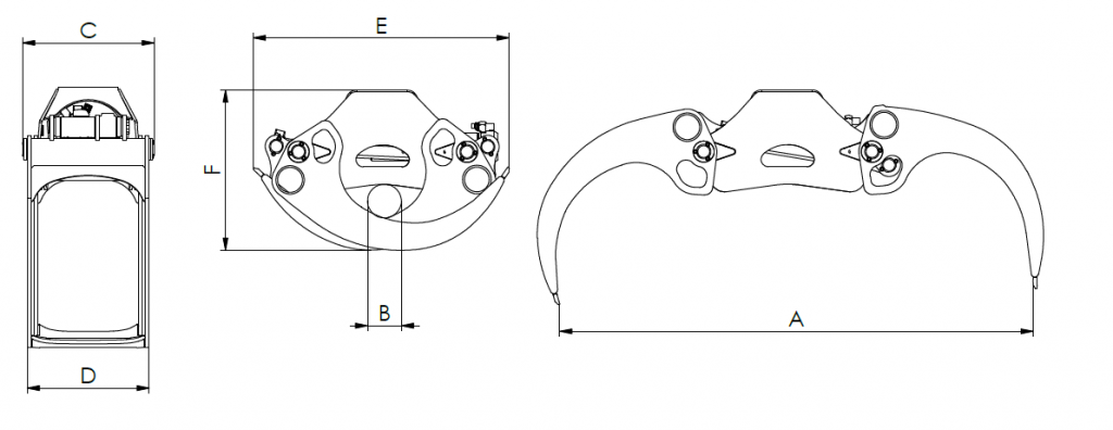 KESLA – Hidrauliniai manipuliatoriai / Kranai ProG griebtuvu matmenys 1024x396